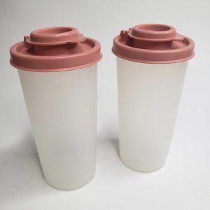Tupperware Salt & Pepper Shakers Rose Pink Set